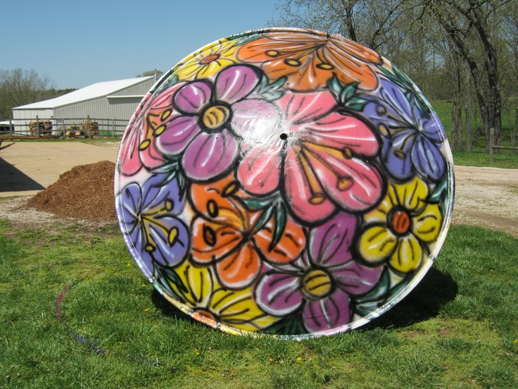 Satellite Dish Recycling - Grammy's Water Cabana #1 - Top of Satellite Dish painted with grafitti style large flowers.