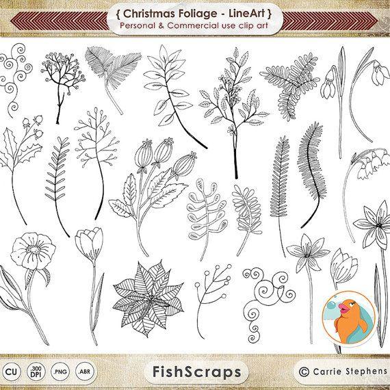 Kerst bloem borduurwerk LineArt, vakantie gebladerte digitale postzegels, Winter Pine groen & kerst ClipArt + Photoshop penseel