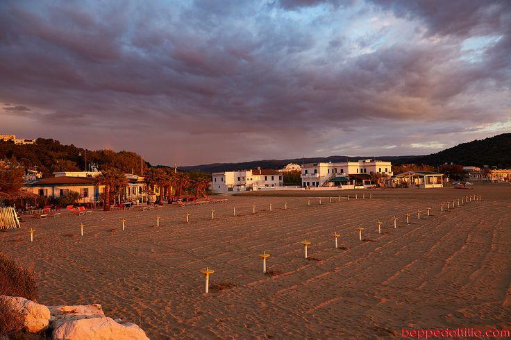 beach at sunset in Peschici - Gargano - Italy