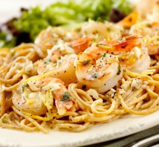 Linguine is tossed with white wine, lemon pepper, and fresh shrimp. A yummy take on traditional Shrimp Scampi.