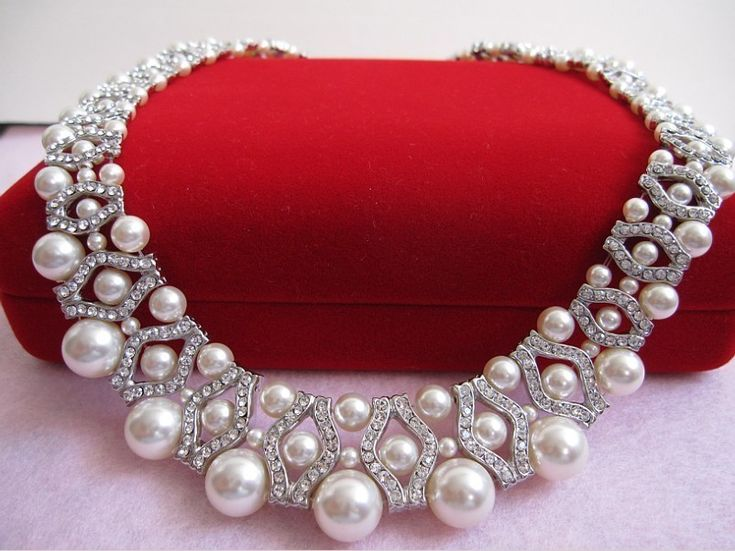 Bridal Necklace Swarovski pearl necklace bridal by ChantalEveleen, $125.00