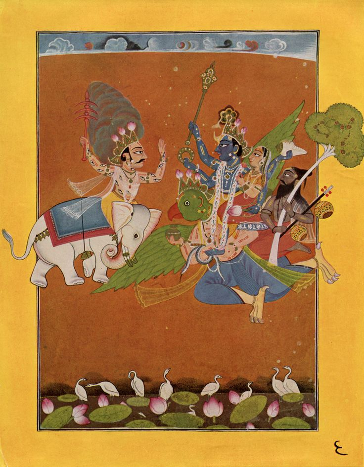 """Basohli Paintings evolved in the 17th and 18th centuries as a distinctive style of painting fusing Hindu mythology, Mughal miniature techniques, and the folk art of the local hills. The painting style derives its name from the place of its origin—the hill town of Basohli. . . in the state of Jammu & Kashmir."""