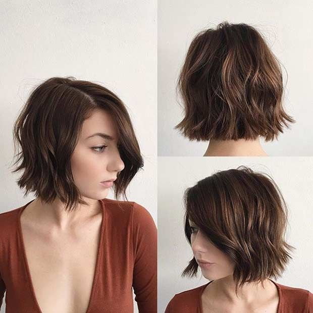 Choppy, Blunt Bob Hairstyle for Brunettes