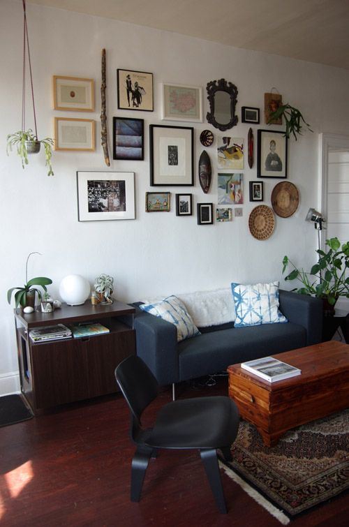 Design*Sponge | Sneak Peek: Jess Schreibstein's Baltimore Apartment >>> love the art wall and hanging plant