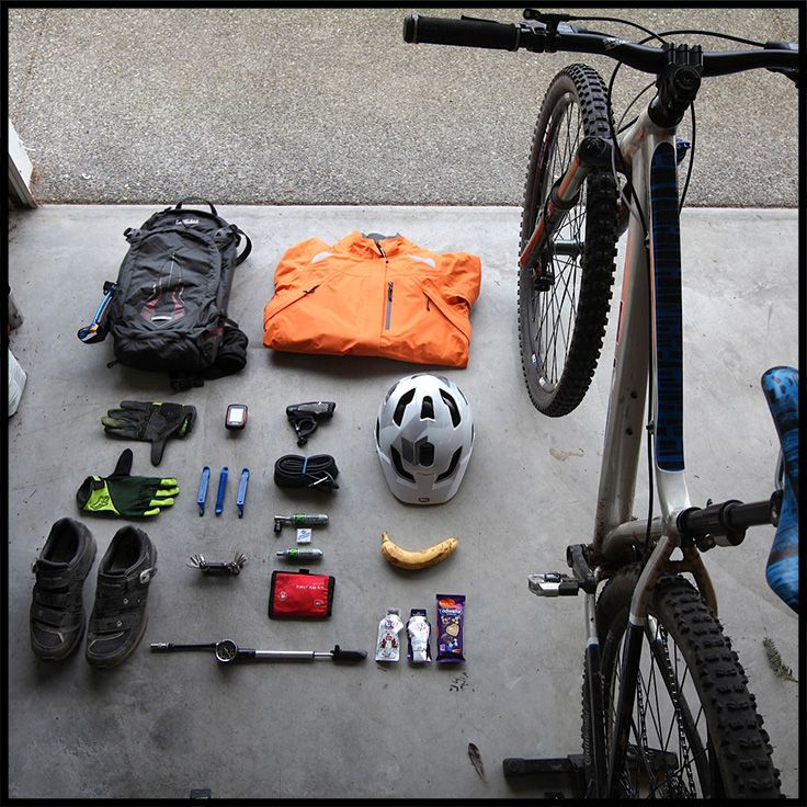 Check it out! Everything you need for a day of mountain biking, all laid out and ready to go. #frontdoorkit