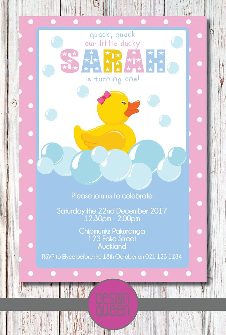 Rubber Ducky Kids Invitation - YOU PRINT custom Rubber Ducky party invite by QueenOfAdmin on Etsy