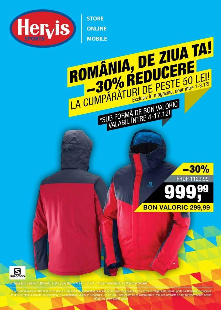 Catalog Hervis Sports Romania de Ziua Ta 01 - 03 Decembrie 2017! Oferte: jacheta schi barbati Salomon 999,99 lei; pantaloni schi barbati NorthFinder