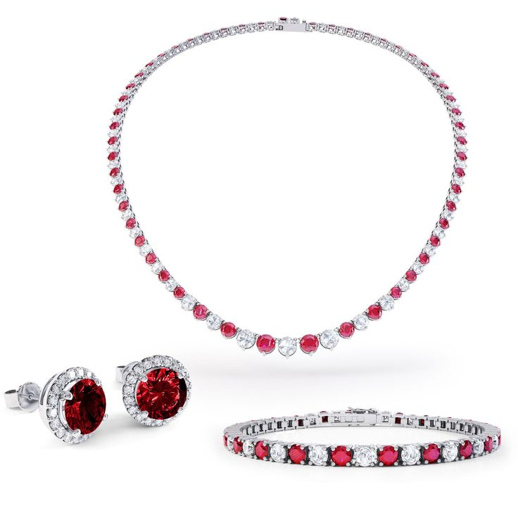 Eternity Ruby and White Sapphire Platinum plated Silver Jewellery Set with Necklace