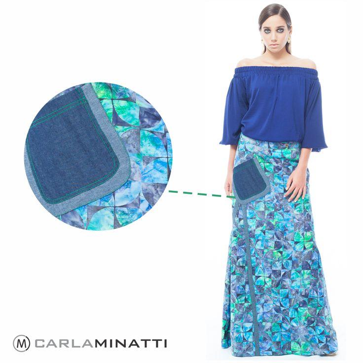 La combinación de bases textiles (como el algodón en batik y el índigo) así como el uso de colores en los pespuntes le dan a las faldas de nuestra nueva colección un toque diferente.