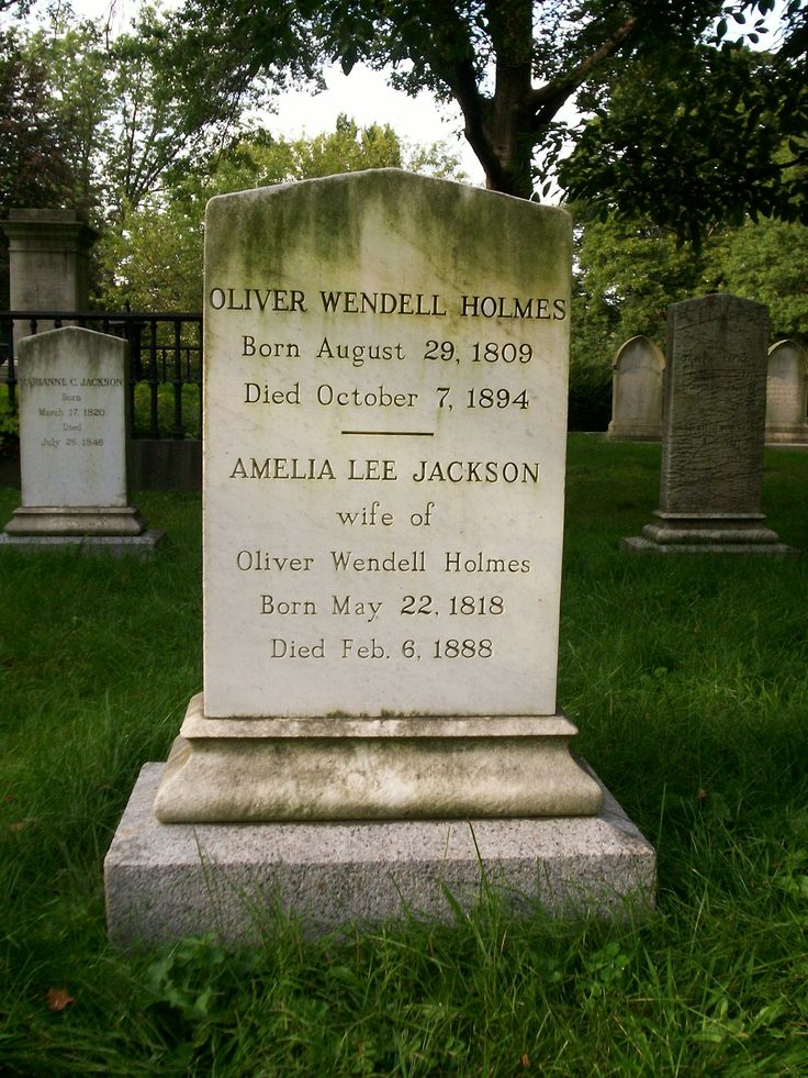 Grave site for Oliver Wendell Holmes, Sr. (1808-1894), Mt. Auburn Cemetery, Cambridge, Massachusetts.