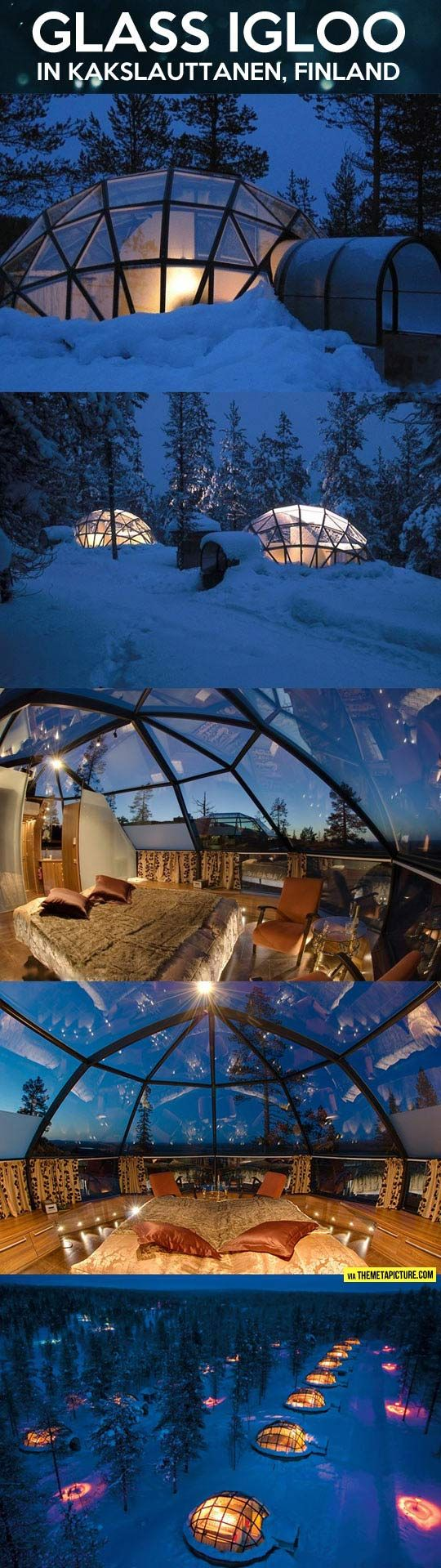 The Glass Igloo Hotel in Kakslauttanen, Finland is a family hotel in the Finnish Lapland.  It is 250 kilometres north of the Artic Circle.
