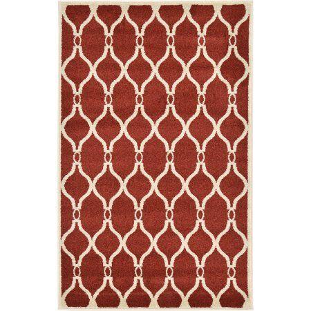 Unique Loom Geometric Trellis Rug, Red