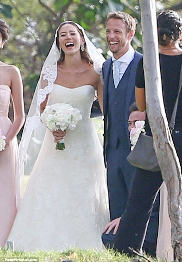 Happy ever after: Formula One driver Jenson Button married fiancee Jessica Michibata in Ha...
