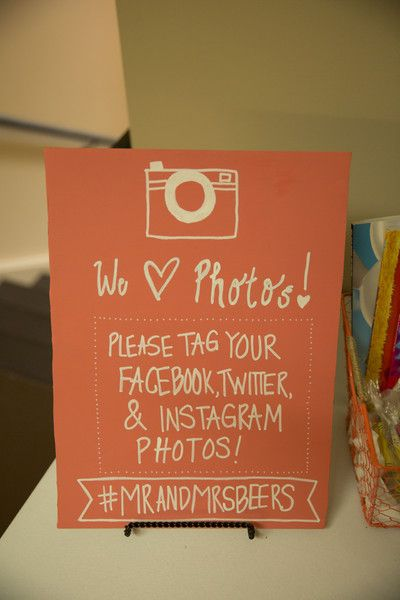 Wedding sign idea - have guests tag their photos with your wedding hashtag {Hubbard Photography}