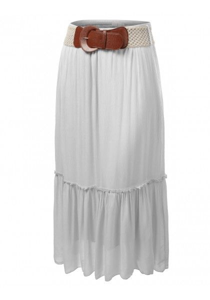 Gauze Maxi Skirt with Matching Belt #jtomsonplussize