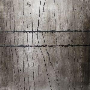 Tableau abstrait gris, fini lustré 36 x 36''