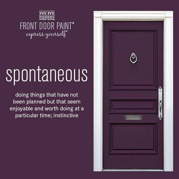 The 24 colors from our Front Door Paint collection were carefully selected utilizing the Emotional Color Wheel and global color trends and home design. This is Spontaneous, a gorgeous plum shade. Let us know or repin if you think this is the perfect color!