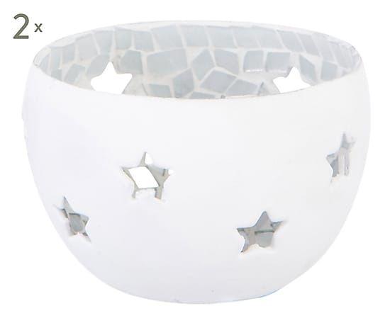 """Komplet 2 świeczników """"Mozaic White"""", Ø 7,5, wys. 4 cm"""