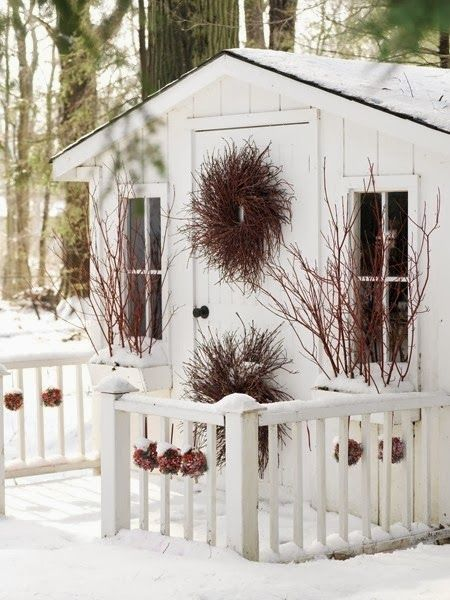 Winter Hideaway- I am in love with using nature's gifts in our holiday decorating; it's so sweet on and in small spaces, doors, and out buildings, as this person seems to also do.