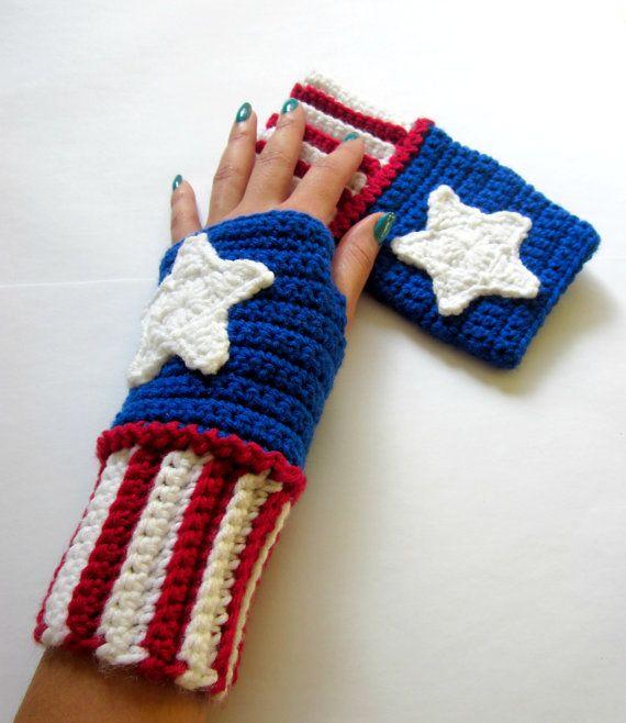 Power Wristies. Captain America Inspired Wristwarmers. Superhero Fingerless Gloves. Crochet Avengers Marvel Comics Accessory. Cosplay.