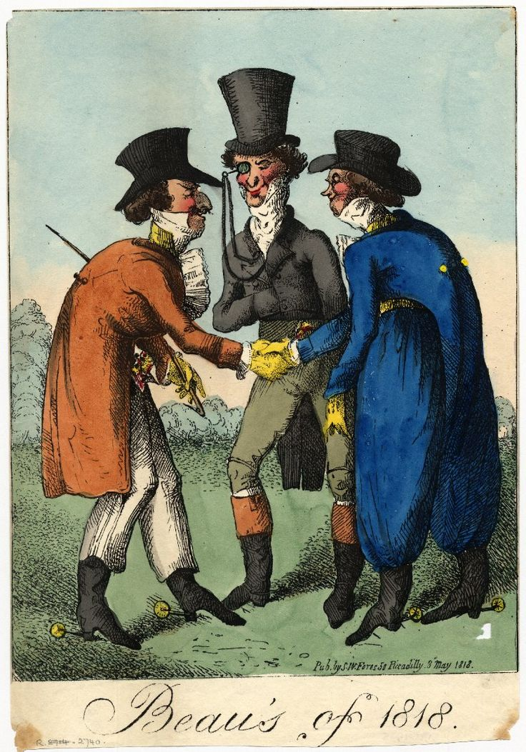 © The Trustees of the British Museum. Beau's of 1818.   George Cruikshank, 8 May 1818  Hand-coloured etching