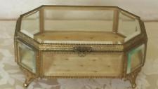 Antique Lrg. Gold Ormolu & Beveled Glass Jewelry Casket or Display Vitrine…