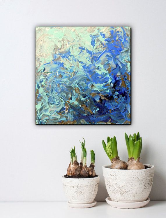 Abstract art small acrylic paintings blue canvas by artstudioAreti