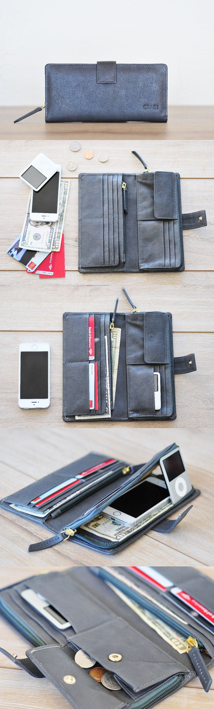 Playful modern leather wallet by #ERA81 with unbeatable functionality - store all your cards, bills, documents and even phone in one minimalist wallet.