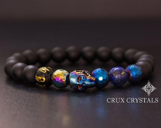 Men S Swarovski Crystal Skull Bracelet Crux Crystals Etsy Mens Beaded Bracelets Skull Bracelet Mens Jewelry