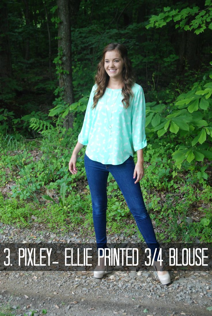 Pixley- Ellie Printed 3/4 Sleeve Blouse via Stitch Fix review from Actually Ashley