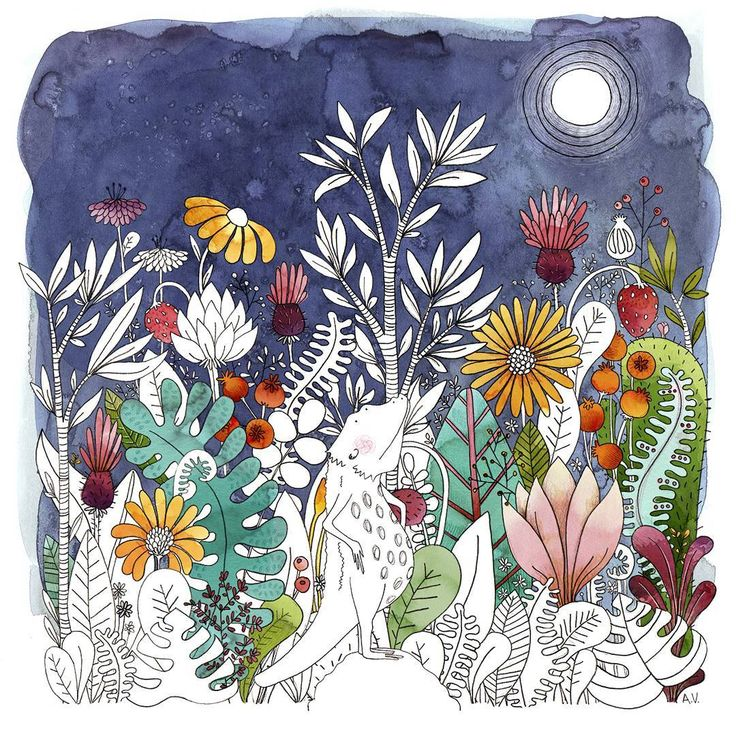 Autor: Anna Florsdefum  Magic night full of love and color.  Una noche mágica llena de color o amor.    #pogona #animal #botanical #cactus #flower #landscape #illustration #ilustración #ilustracion #dibujo #drawing #pogonavitticeps #flowers #flores #nature #floral #dragon #characterdesign #draw #childrensbook #watercolor #succulents
