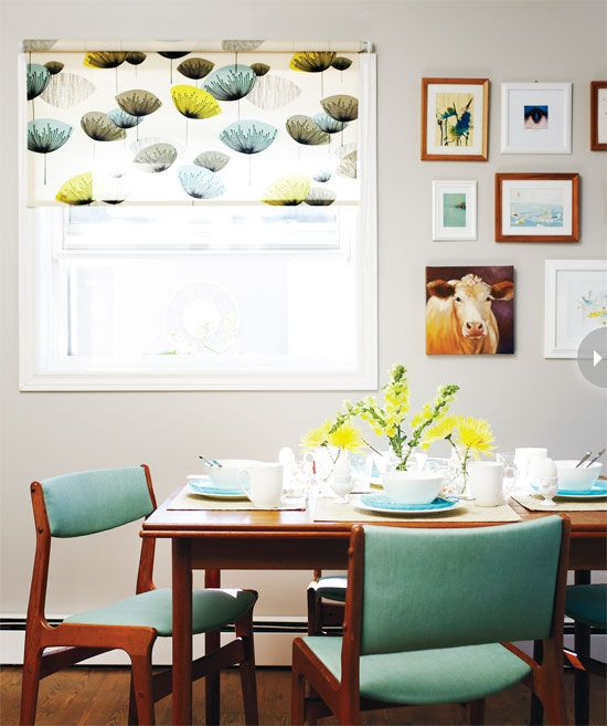 mid-century modern dining room, aqua and yellow with gallery wall