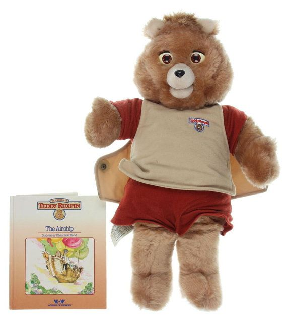 Vintage Large Teddy Ruxpin Bear  1985 Alchemy II World of Wonder Talking Teddy Bear Toy Comes with 1 Tape and Book - The Airship by VintageFlicker
