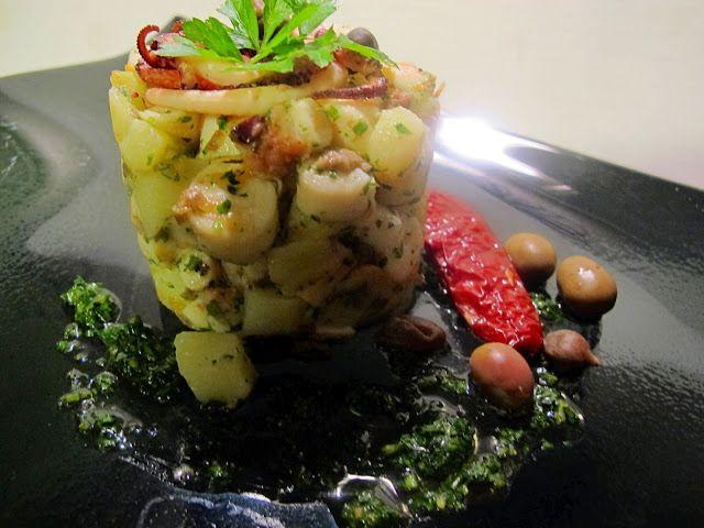 Tentazioni di gusto: Polpo e patate con olive taggiasche, capperi e salsa prezzemolata