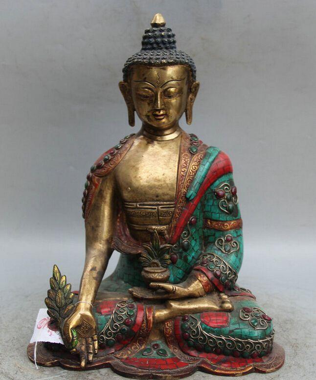 "Collectible Bronze S2125 14 "" Tibet budismo Bronze dourar Coral turquesa Red Menla medicina estátua de buda em Artesanato em Metal de Casa & jardim no AliExpress.com   Alibaba Group"