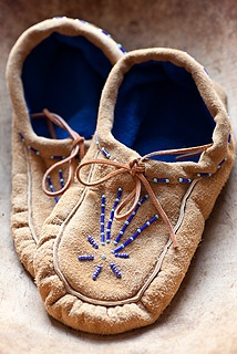 Made by women from Mishkeegogamang First Nation, Ontario Canada, these moccasins are a wonderful winter item. Warm and durable, these make great indoor slippers.