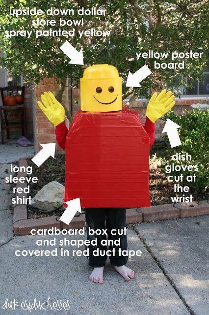 DIY easy homemade Lego Man Halloween costume from Lego Movie