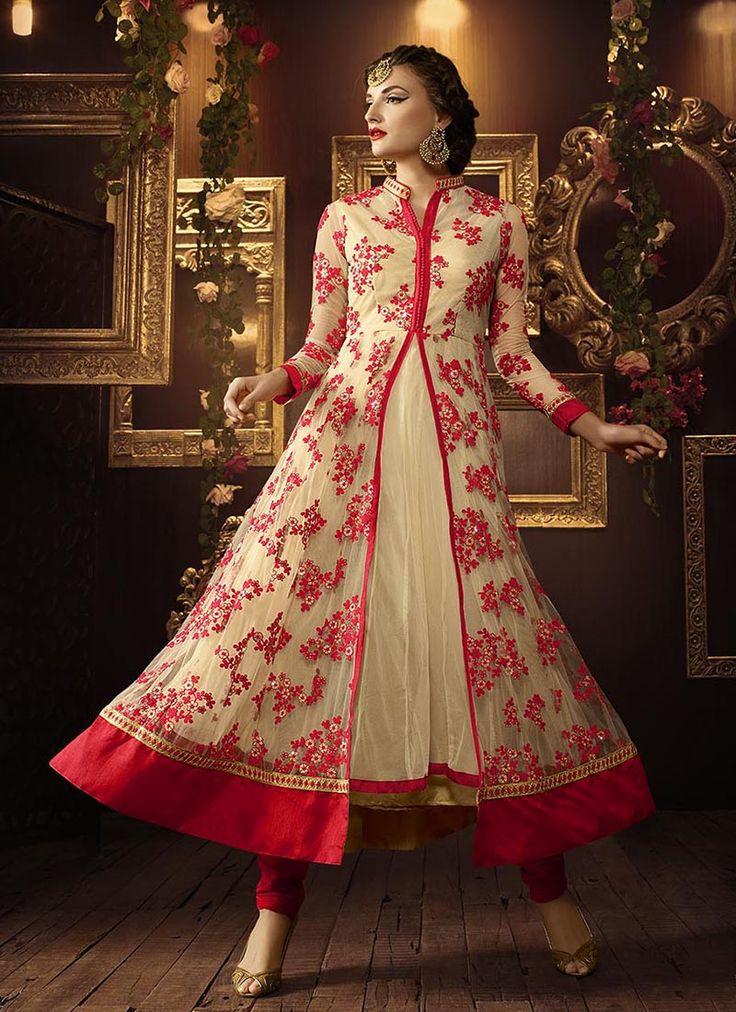 Designer Wedding Special Anarkali Suits Collection.  Grab Now @ http://www.suratwholesaleshop.com/wedding-wear-pink-net-embroidered-work-anarkali-suit-109?view=catalog