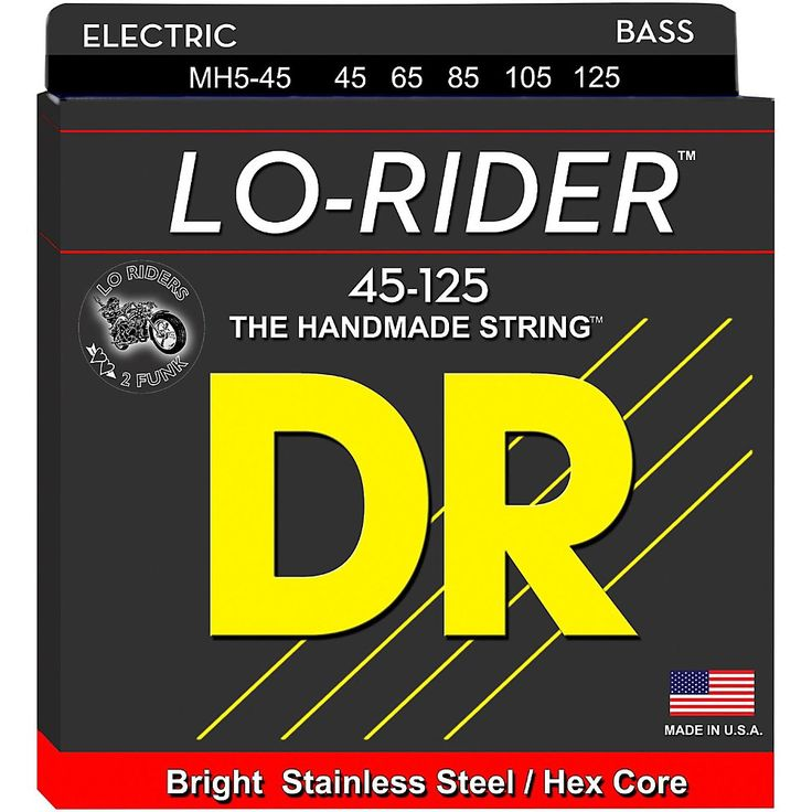 DR Strings Lo Rider MH5-45 Medium Stainless Steel 5-String Bass String