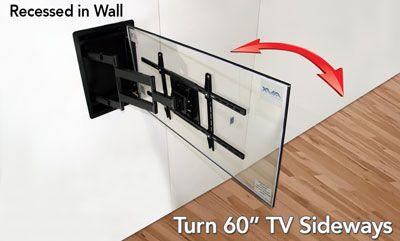 turn 60 tv sideways super flush architectural genius free shipping full motion articulating. Black Bedroom Furniture Sets. Home Design Ideas