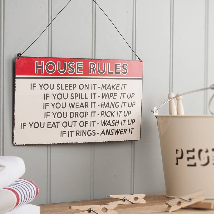 'House Rules' Retro Style Metal Sign