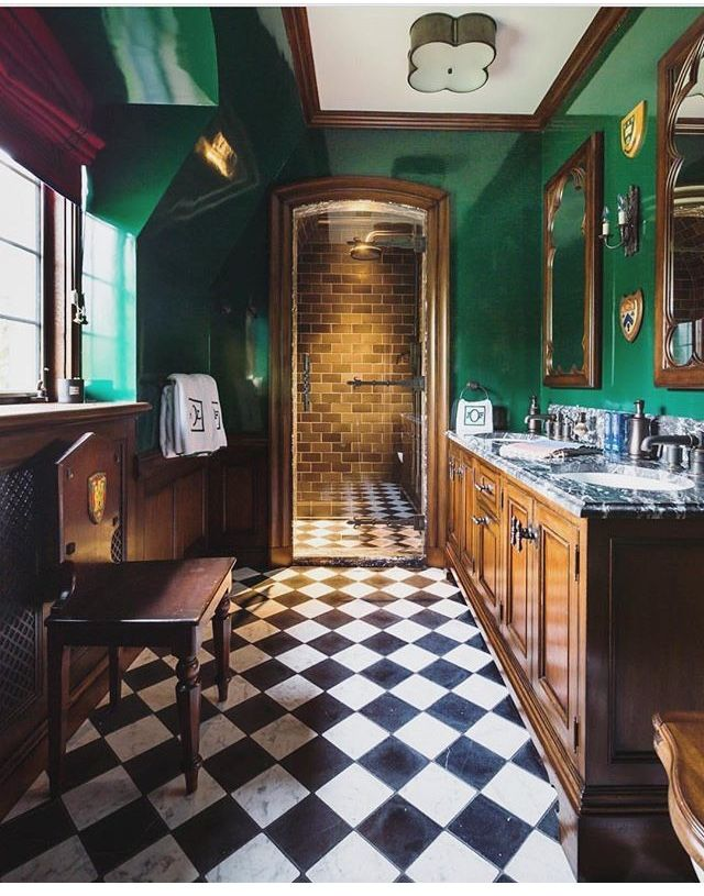 Preppy Bathroom Black White Checkered Tile Floors Hunter Green Walls And A Walk In Shower Via Rin Green Bathroom Marble Bathroom Floor Bathroom Interior