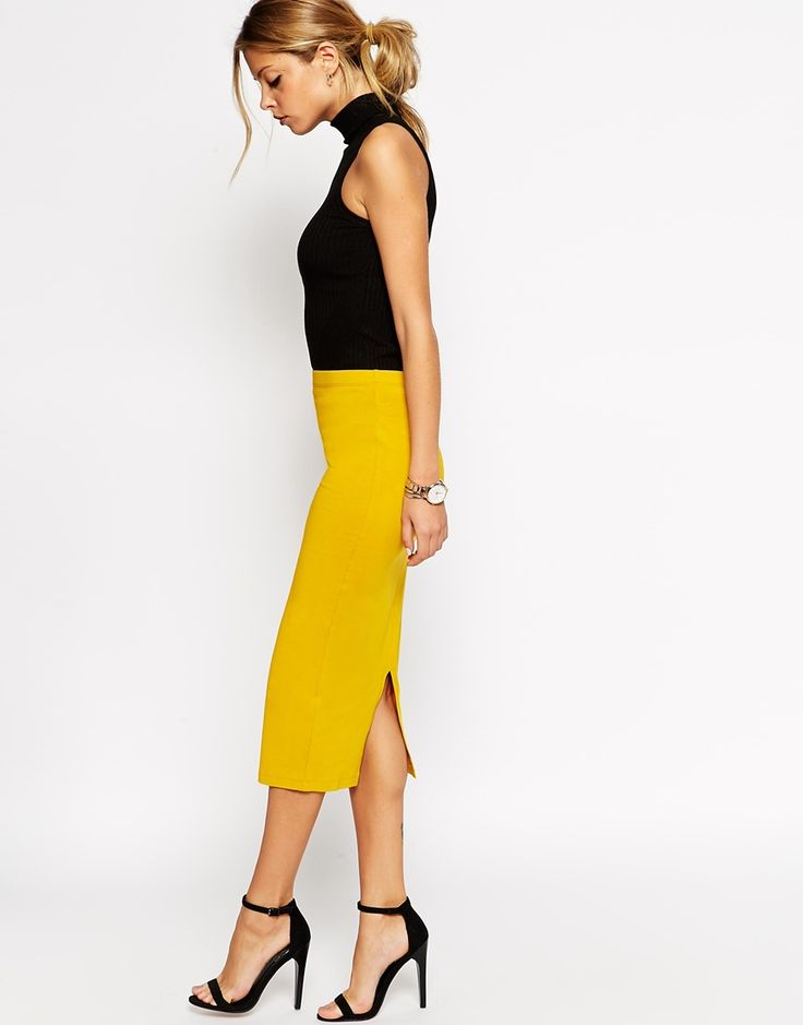ASOS Midi Pencil Skirt in Jersey in yellow bought it and I'm in love