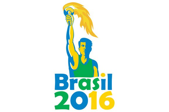 Illustration of an athlete holding flames flaming torch viewed from front with words Brasil 2016 depicting the summer games on isolated white background.The zipped file includes editable