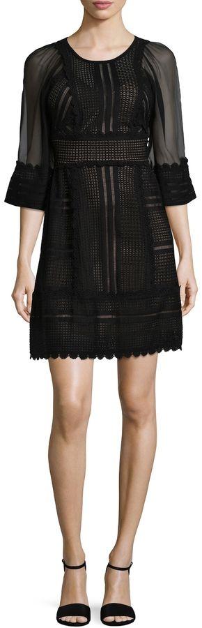Tracy Reese Women's Mixed Media Flared Dress