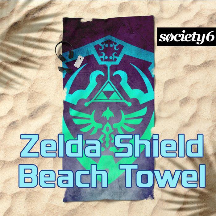 Zelda Shield Beach Towel. #legendofzelda #legendofzeldabeachtowel #beachtowel #society6 #summer2017 #scardesign #giftsforhim #giftsforher #beach #summergifts