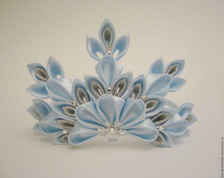"""Купить Корона """"Эльза"""" - серебряный, корона для принцессы, корона канзаши, корона, корона для девочки"""