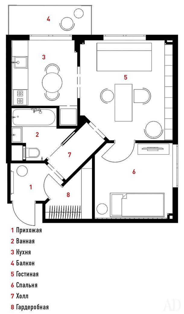 Квартира для пожилой дамы в Москве, 38 м²
