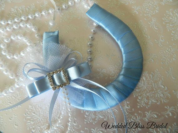 Wedding Bridal Horseshoe charm Blue Satin by WeddedBlissBridal