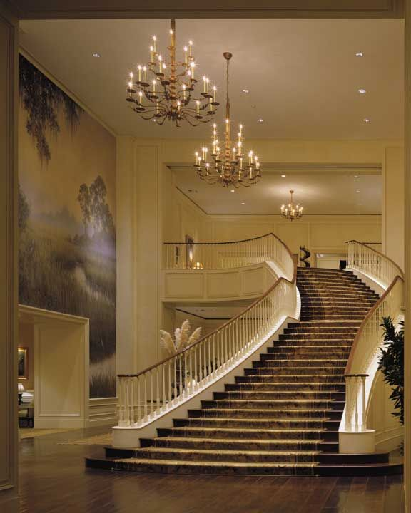 The Sanctuary at Kiawah Island - One of two identical staircases!!  One on each end of the entrance foyer.  This hotel is breathtaking!